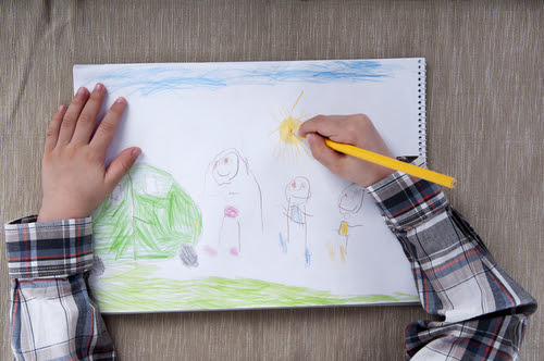 child making a drawing
